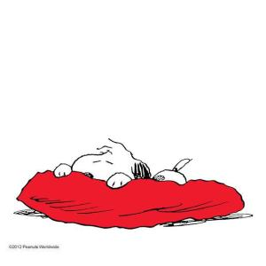 snoopy getting sick in bed