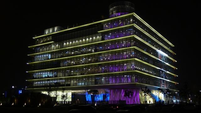 高雄市立圖書館總館夜景(東北側)