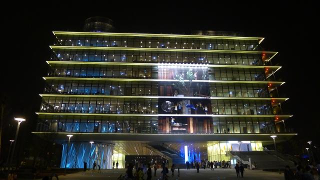 高雄市立圖書館總館夜景(正面)